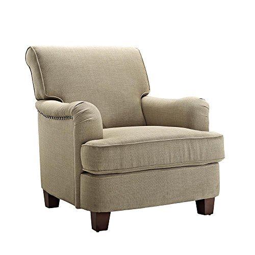 Dorel Living Rolled Top Club Chair Nailheads, Oatmeal