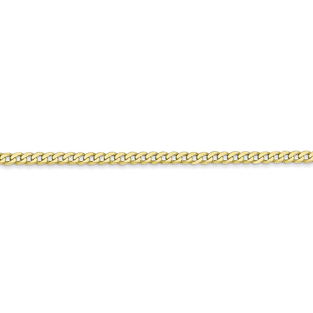 Mia Diamonds 10k Yellow Gold 2.2mm Flat Beveled Curb Chain Necklace