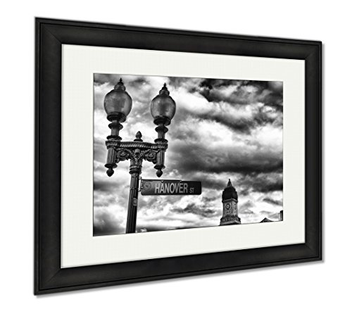 Ashley Framed Prints Street Sign And Buildings Boston Ma, Office/Home/Kitchen Decor, Black/White, 30x35 (frame size), Black Frame, - Newbury Ma Boston Street