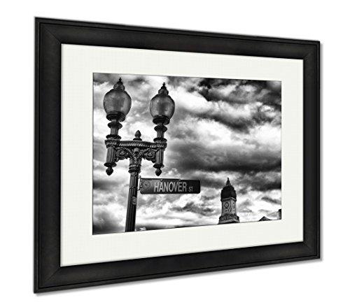 Ashley Framed Prints Street Sign And Buildings Boston Ma, Office/Home/Kitchen Decor, Black/White, 30x35 (frame size), Black Frame, - Street Newbury High Shops