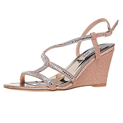 SheSole Women's Rhinestone Wedge Sandals Summer Wedding Shoes Gold US 7