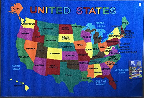 Play Time USA Kids Area Rug U.S.A. MAP Learning Carpet Game Room (7 9 Inch X 10 Feet Reversible), Blue