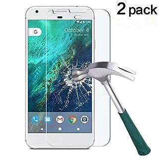"TANTEK Google Pixel XL Screen Protector, [Bubble-Free][HD-Clear][Anti-Scratch][Anti-Glare][Anti-Fingerprint] Tempered Glass Screen Protector for Google Pixel XL (5.5"",2016),-[2Pack]"