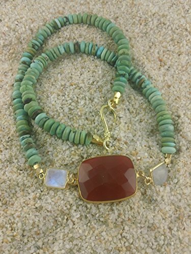 Exquisite Chinese Turquoise Abacus Beads with Carnelian and Rainbow Moonstone Necklace