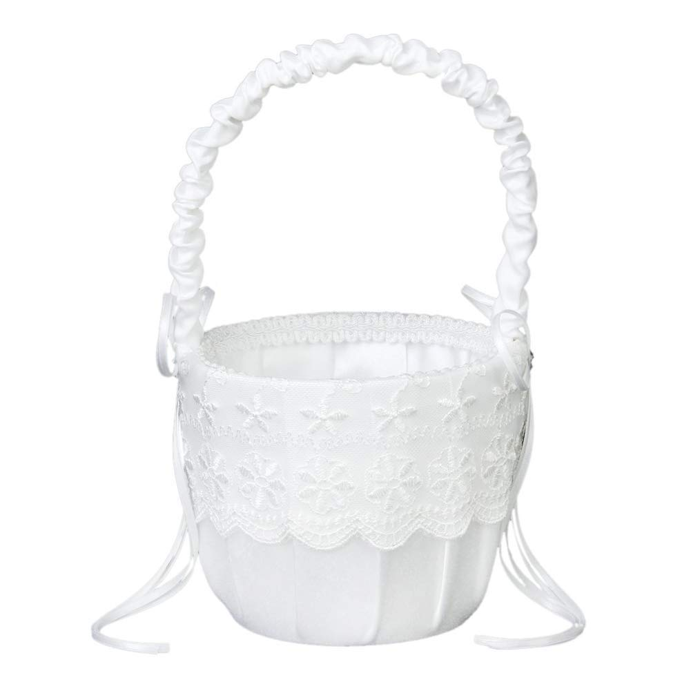 Yevison Premium Quality Girls Lace Decorate Basket Sweet Romantic Flower Basket with Ribbon Heart Beads for Elegant Wedding Ceremony