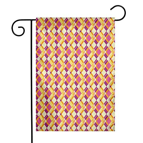 duommhome Retro Garden Flag Old Fashioned Plaid Pattern Crosswise Lines in Warm Colors Classical Geometrical Decorative Flags for Garden Yard Lawn W12 x L18 Fuchsia Yellow