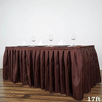 89350e7c2 BalsaCircle 17 feet x 29-Inch Chocolate Brown Polyester Banquet Table Skirt  Linens Wedding Party
