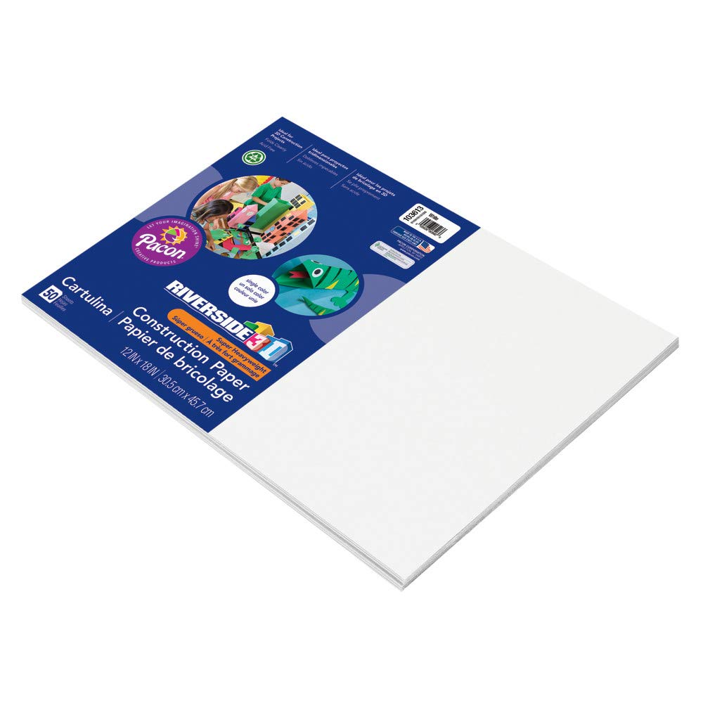 Amazoncom Riverside 3d Construction Paper White 12 X 18 50 Sheets