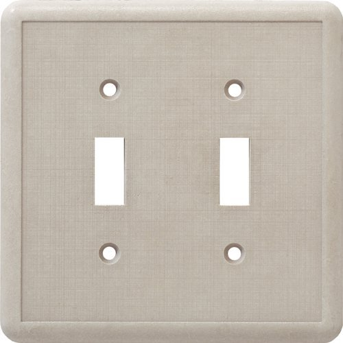 Cast Stone Switchplate - CAST STONE DOUBLE TOGGLE SWITCH PLATE IVORY
