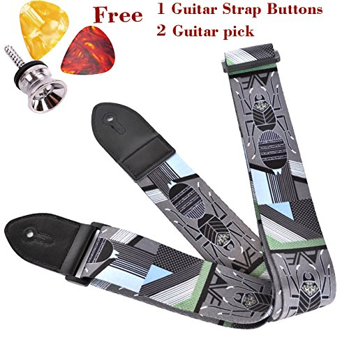 Guitar Strap for Acoustic Classical and Electric Guitar,Gift 1pc Guitar Strap Buttons\ 2pc Guitar Picks,Polyester cotton Strap Lightning style (Grey Spider Style)
