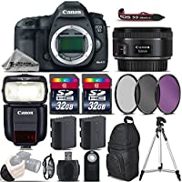 Canon EOS 5D Mark III DSLR 22.3MP Full-Frame Camera + 50mm 1.8 STM Lens + Speedlite 430EX III RT + 64GB Storage + Backup Battery + UV-CPL-FLD Filters + Wrist Grip Strap - International Version