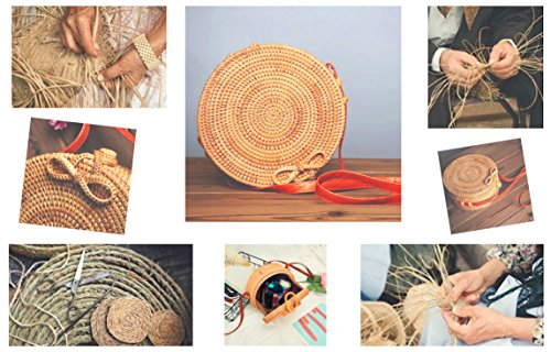 Bag Straw Bag for Rattan Round Rattan Handwoven women Crossbody Purse Bohemian Round Woven Handmade Shoulder Handbag vW7CxnHEn