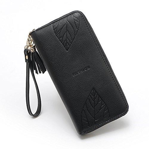 rabbit de Largo Black Color Mobilphone Hoja Mujer Flecos con Bolso Zero Wallet Patrn Colgante de Lovely Brown dwCvq0d