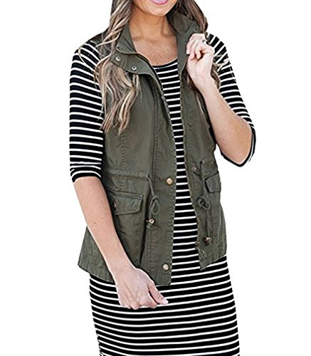 Ruanyu Women's Sleeveless Lightweight Military Stretchy Drawstring Jacket Vest with Zipper (Army Green, Small) by Ruanyu (Image #1)