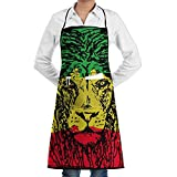 Reggae Rasta Flag Lion Black Home Kitchen Apron Chef Cooking Baking BBQ Apron With Pocket For Women Men