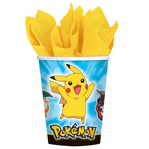 Amscan Electrifyingly Cute Pikachu & Friends Birthday Party Paper Cups (8 Pack), 9 oz, (Pokemon 9 Ounce Cups)