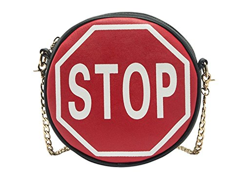 Melie Bianco Traffic Sign Cross Body Bags Purse Handbag (STOP/Red/White/Black ) ()