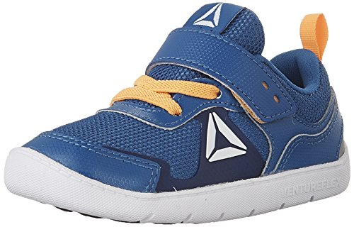 Reebok Kids' Ventureflex Stride 5.0 Running Shoe, Awesome Blue/Fire Spark/Collegiate Navy/White, 6 M US (Awesome Girl Shoes)