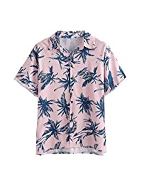 Casual Tops,Men's Summer Hawaii Short Sleeve Button Down Tropical Print T-Shirt
