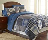 Thermee Micro Flannel Comforter Set, King, Smokey Mountain Patchwork