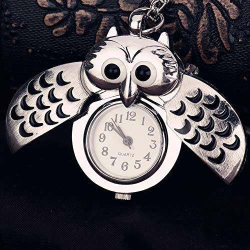 Owl Pocket Watch Pendant - Buyanputra Vintage Unisex Arabic Numbers Pocket Watch Cartoon Owl Pendant Necklace Gift