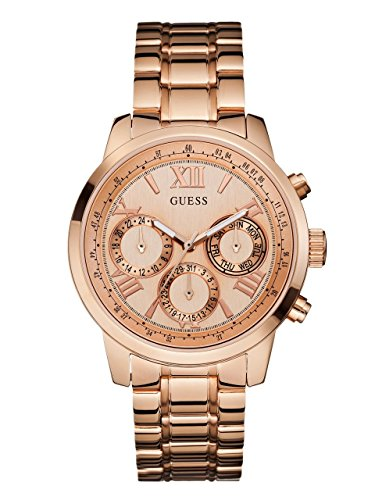 GUESS-Womens-U0330L2-Sporty-Rose-Gold-Tone-Stainless-Steel-Watch-with-Multi-function-Dial-and-Pilot-Buckle