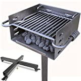 Titan Single Post Park Style Grill Charcoal Grill w/ Rolling Base BBQ Outdoor