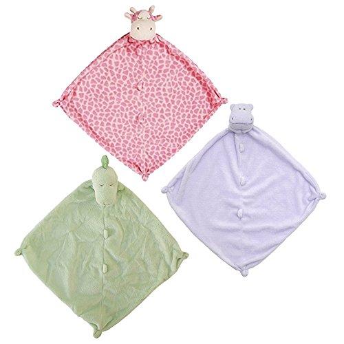 Angel Dear Bundle of 3 Blankies - Purple Hippo, Pink Gira...