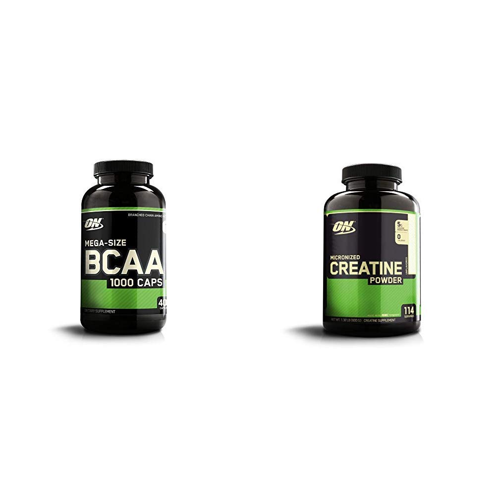OPTIMUM NUTRITION Instantized BCAA Capsules, Keto Friendly Branched Chain Essential Amino Acids with Micronized Creatine Monohydrate Powder, Unflavored