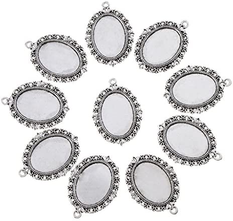 手作り ペンダント アクセサリーパーツ 楕円形 ミール皿  10個セット アンティーク調 レトロ アクセサリー