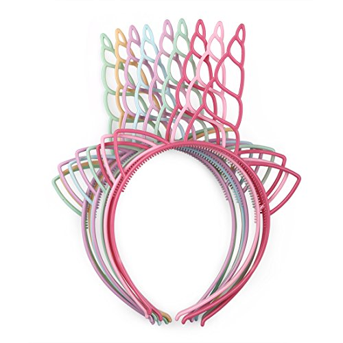 Pack of 12 Plastic Unicorn Headbands for Girls