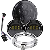 7 inch Daymaker LED Headlight DOT Kit Set Fog Passing Lights for Harley Davidson Ultra Classic Electra Street Glide Road King Heritage Softail Deluxe Slim Fatboy Motorcycle Headlights Headlamps Black