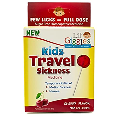 Lil' Giggles Kid's Medicated Travel Sickness Lollipops – For Children Motion Sickness, Car Sickness and Travel Nausea. Homeopathic Remedy. The Medicine Kid's will LOVE to take. 12 CT