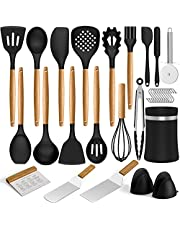Silicone Kitchen Cooking Utensils Set, Umite Chef 31 pcs Heat Resistant Silicone Wooden Handles Cooking Utensil Spatula Set with Holder, Kitchen Gadgets Tools Set for Nonstick Cookware