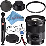 Sigma 50mm f/1.4 DG HSM Art Lens for Nikon F #311306 + 77mm UV Filter + Lens Pen Cleaner + Fibercloth + Lens Capkeeper + Deluxe Cleaning Kit + Flexible Tripod Bundle