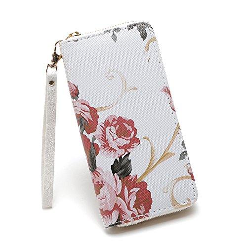 MaxFox Women Fashion Single Pull Rose Long Wallet Zipper Coin Purse Phone Bag Divider Organizer Storage Clutches (A) ()
