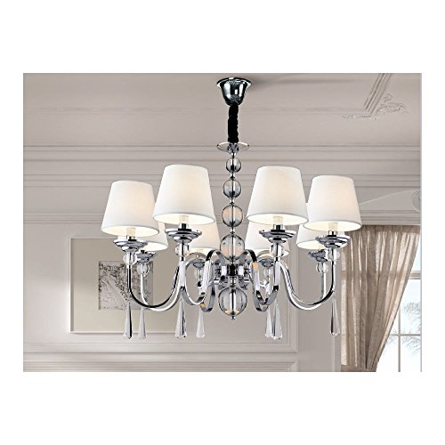 Schuller Spain 520975I4L Traditional Chrome Hanging Ceiling Light Pendant shade pendant light 8 Light Dining Room, Living Room LED | ideas4lighting by Schuller