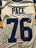 "Autographed/Signed Orlando Pace HOF 16"" St. Louis Rams White Football Jersey JSA COA"