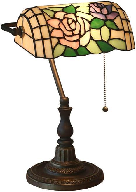 Tiffany Style Lampada Da Bancario Lampada Da Tavolo Rosa Floreale Vetro Colorato Lampada Da Scrivania Realizzata A Mano Anticato Paralume In Zinco Base Per Studio Ufficio Camera Da Letto Soggiorno Amazon It Illuminazione