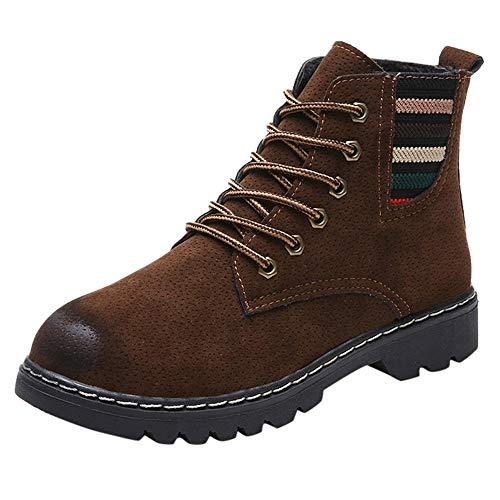 Women Winter Warm Short Boots,Mosunx Lady Fashion Striped Flock Retro Round Toe Shoes (5.5B(M) US, Khaki) by Mosunx Women Shoes