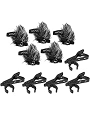 Movo MCW8 5-PACK of Lavalier Microphone Windscreen Muffs and Metal Crocodile Lapel Clips for 12mm Mic Capsules - Fits Movo LV8-C & LV8-D Broadcast Lavalier Microphones