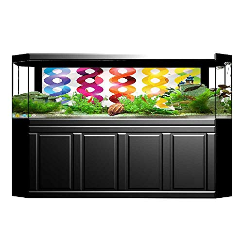 UHOO2018 Decorative Aquarium Vector Tangled Bright Rainbow Chain DNA Like Cool Modern Design Artwork Multi Colored Aquarium Sticker Wallpaper Decoration 35.4
