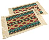 Splendid Exchange Southwest Style Woven Cotton Stencil Placemats Set of 2, Green Star