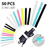 Avantree Pack of 50 Reusable Cord Organizer Keeper Holder, Fastening Cable Ties Straps for Earbud Headphones Phones Wire Wrap Management, Assorted 3 Size and 5 Color