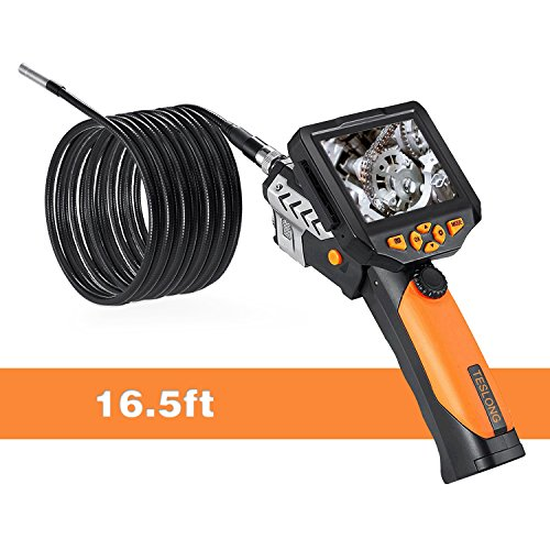 Teslong Classic Borescope, 16.5ft Semi Rigid Gooseneck Industrial Endoscope 3.5inch LCD Screen Inspection Camera with Tool Box, 6 LED Lights, 4X Zoom and DVR Digital Video Recording(5m/16.5ft)
