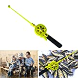 Fishing Accessories, Outdoor Kids Portable Ice Fishing Rod Plastic Pole with Reels Wheel Accessory - Yellow