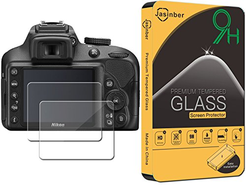 [2-Pack] Jasinber Mica de Vidrio Cristal Templado para Cámara digital réflex Nikon D3400 D3300 D3200 D3100