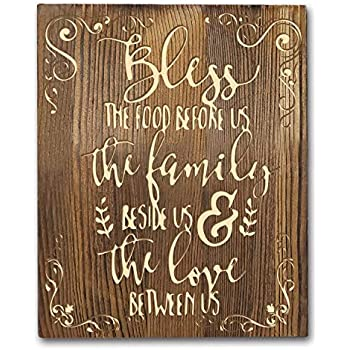 Agantree art Bless The Food Before us Rustic Farmhouse Kitchen Classy Vertical Wood Wall Hanging Sign Decoration 8
