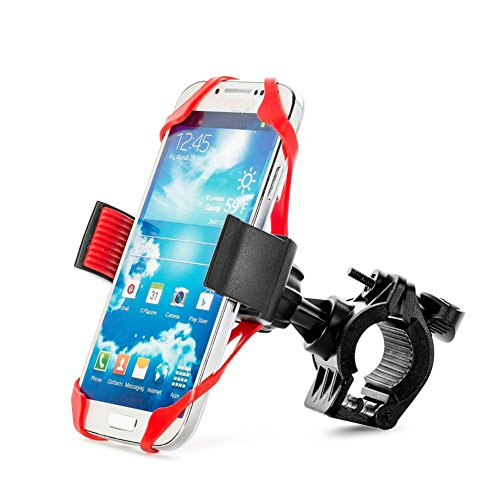 Price comparison product image YIANERM MTB Bicycle Handlebar & Motorcycle Phone Holder With Secure Band For Samrtphones (Red)
