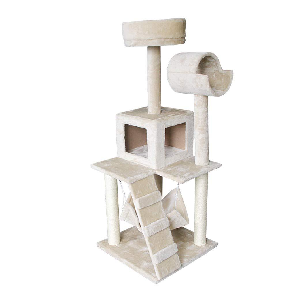 Cat tree Activity Center climbing frame jumping sisal cat toyKhaki(50  50  123cm)